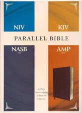 NIV, KJV, NASB, Amplified Parallel Bible--bonded leather, burgundy