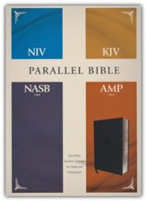 NIV, KJV, NASB, Amplified Parallel Bible--soft-leather-look, black