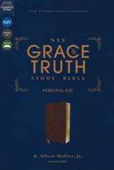NIV Grace and Truth Personal-Size  Study Bible, Comfort Print--soft leather-look, burgundy (indexed)