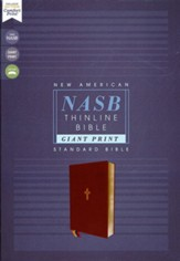 NASB Giant-Print Thinline Bible, Red Letter Edition--soft leather-look, black