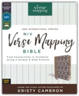 NIV Verse Mapping Bible--soft  leather-look, navy floral (indexed)