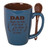 Dad, Thank You With All My Heart, Spoon Mug, Blue