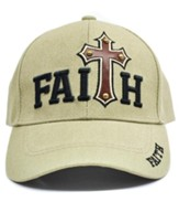 Studded Faith Cross Cap, Khaki