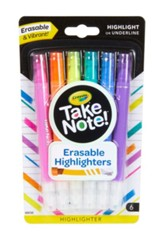 Take Note! Erasable Highlighters, 6 Pieces