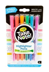 Take Note! Dual-Ended Highlighter Pens, 6 Pieces