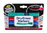 Take Note! Broad Line Dry-Erase Markers, Assorted Colors, 4 Pieces