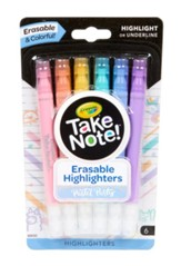 Take Note! Erasable Highlighter, Pastel Party, 6 Pieces