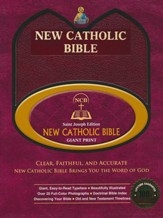 St. Joseph New Catholic Giant-Print Bible--bonded leather, burgundy