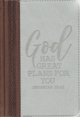 God Has Great Plans For You Journal, Faux Leather, Gray