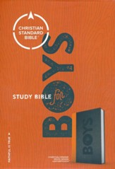 CSB Study Bible for Boys Charcoal/Orange, Wood Design LeatherTouch - Slightly Imperfect