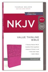 NKJV Value Thinline Bible, Imitation Leather, Pink - Slightly Imperfect