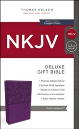 NKJV Deluxe Gift Bible, Purple  - Slightly Imperfect