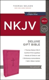 NKJV Deluxe Gift Bible, Pink  - Slightly Imperfect