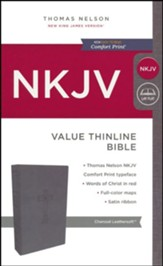 NKJV Value Thinline Bible, Imitation Leather, Charcoal