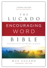 NKJV Lucado Encouraging Word Bible,  Comfort Print, Cloth over Board, Gray