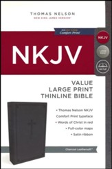 NKJV Value Thinline Bible Large Print, Imitation Leather, Charcoal