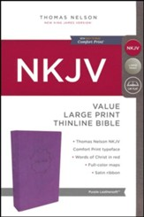 NKJV Value Thinline Bible Large Print, Imitation Leather, Purple - Slightly Imperfect