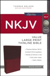 NKJV Value Thinline Bible Large Print, Imitation Leather, Burgundy