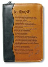 Duo-Tone Footprints Bible Cover, Extra Large