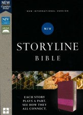 NIV, Storyline Bible, Leathersoft, Pink, Comfort Print - Imperfectly Imprinted Bibles