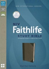 NIV Faithlife Study Bible: Intriguing Insights to Inform Your Faith--soft leather-look, gray/black - Slightly Imperfect