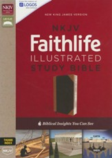 NKJV Faithlife Illustrated Study Bible--soft leather-look, black/tan