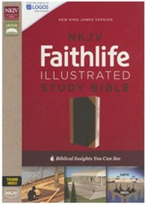 NKJV Faithlife Illustrated Study Bible--soft leather-look, black/tan (indexed) - Imperfectly Imprinted Bibles