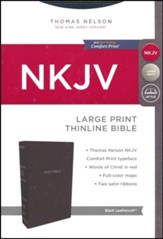 NKJV Thinline Bible Large Print Imitation Leather, Black - Slightly Imperfect