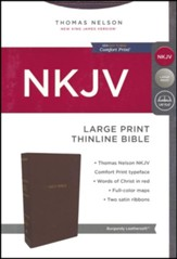 NKJV Thinline Bible Large Print Imitation Leather, Burgundy - Imperfectly Imprinted Bibles