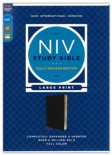 NIV Large-Print Study Bible, Fully Revised Edition, Comfort Print--bonded leather, black (red letter)