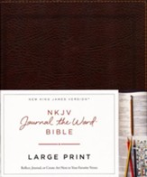 NKJV Journal the Word Bible, Large Print, Bonded Leather, Brown, Red Letter Edition - Imperfectly Imprinted Bibles