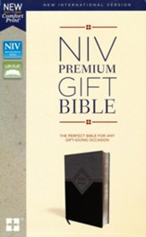 NIV, Premium Gift Bible,  Leathersoft, Black and Gray, Comfort Print