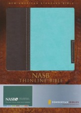 NASB Thinline Bible--soft leather-look, chocolate/turquoise