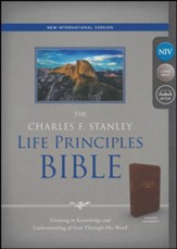 NIV, The Charles F. Stanley Life Principles Bible, Imitation Leather, Burgundy - Slightly Imperfect