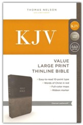 KJV, Value Thinline Bible, Large  Print, Imitation Leather, Gray, Red Letter Edition