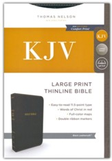 KJV, Thinline Bible, Large Print, Imitation Leather, Black, Red Letter Edition - Imperfectly Imprinted Bibles