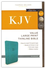 KJV, Value Thinline Bible, Large Print, Imitation Leather, Blue, Red Letter Edition - Imperfectly Imprinted Bibles