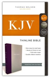 KJV, Thinline Bible, Standard Print,  Cloth over Board, Purple/Gray, Red Letter Edition