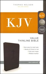 KJV, Value Thinline Bible, Standard Print, Imitation Leather, Black, Red Letter Edition