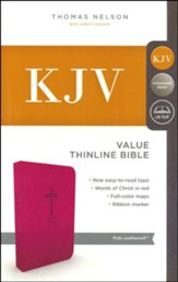 KJV, Value Thinline Bible, Standard Print, Imitation Leather, Pink, Red Letter Edition