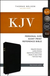 KJV Personal Size Giant Print Reference Bible, Black Genuine Leather, Custom - Imperfectly Imprinted Bibles