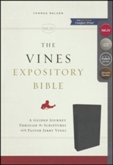 NKJV Vines Expository Bible--genuine leather, black