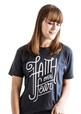 Faith Over Fear Shirt, Blue, Large
