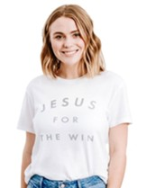 Jesus For the Win Shirt, White, Small