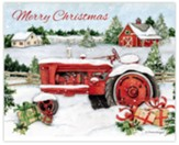 Snowy Tractor Merry Christmas Cards, Box of 18