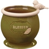 Blessed Planter With Bird On The Side