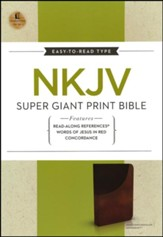 NKJV Super Giant Print Reference Bible, Leathersoft, Dark Mahogany/Rich Chocolate--indexed