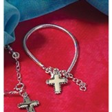 Snake Chain Bracelet with Budded Cross Charm