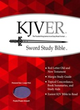 KJVer (Easy Reader) Large Print Sword Study Bible, Personal Size, Ultrasoft Dark Purple/Light Purple, Thumb Indexed