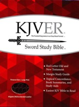 KJVer (Easy Reader) Large Print Sword Study Bible, Personal Size, Ultrasoft Walnut Alligator